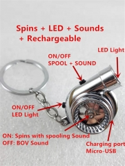 Rechargeable Turbo Keychain & USB, Electric Turbo Keyring BOV Sound LED Light