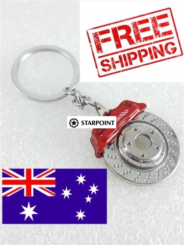 Red Brembo Disc Brake Caliper Red Keychain Keyring