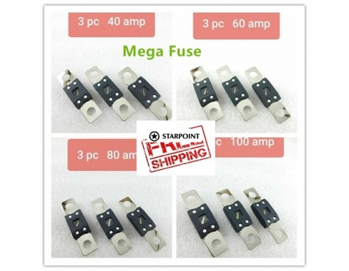 3 x 40 AMP/ 60 AMP/ 80 AMP/ 100 AMP MEGA FUSES Heavy Duty Dual Battery System Audio