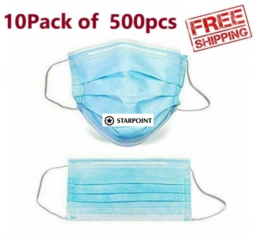 10 Packs of 500pcs Medical Face Masks 3 Layer protective Masks Disposable Face Masks