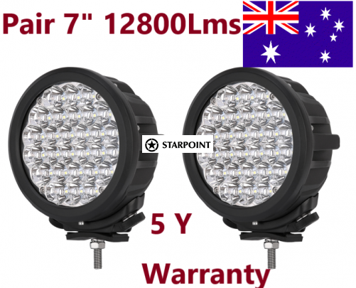 Starpoint Pair Powerful 7 Inch Cree LED Driving Lights Round Off road 4WD Spotlight